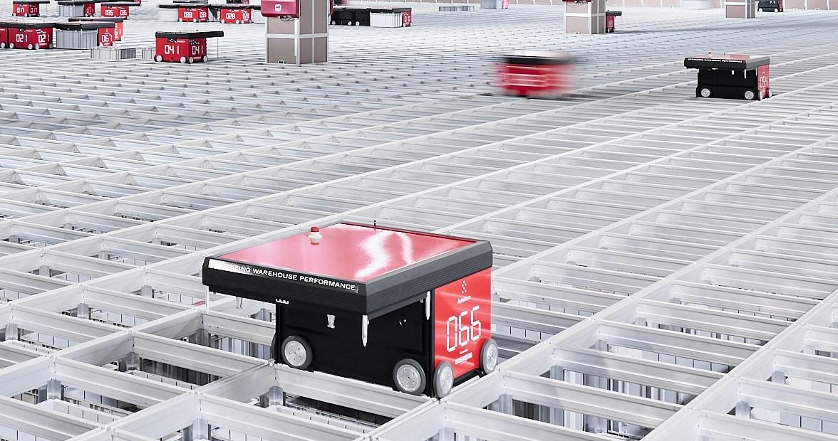 R5-robot beweegt op grid met in totaal 12.000 bins.