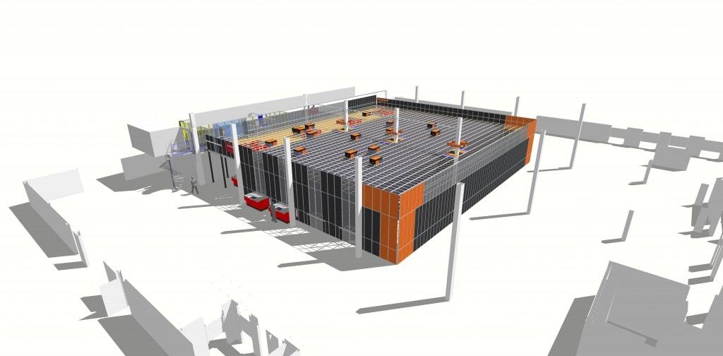 3D-layout van Hatstore`s AutoStore-oplossing, met in totaal 18 robots en 12.000 bins.