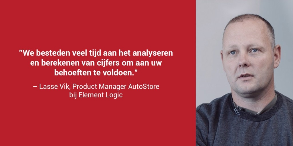 """Een rode doos met een portretfoto van Lasse Vik en de quote: """"We besteden veel tijd aan het analyseren en berekenen van cijfers om aan uw behoeften te voldoen"""""""
