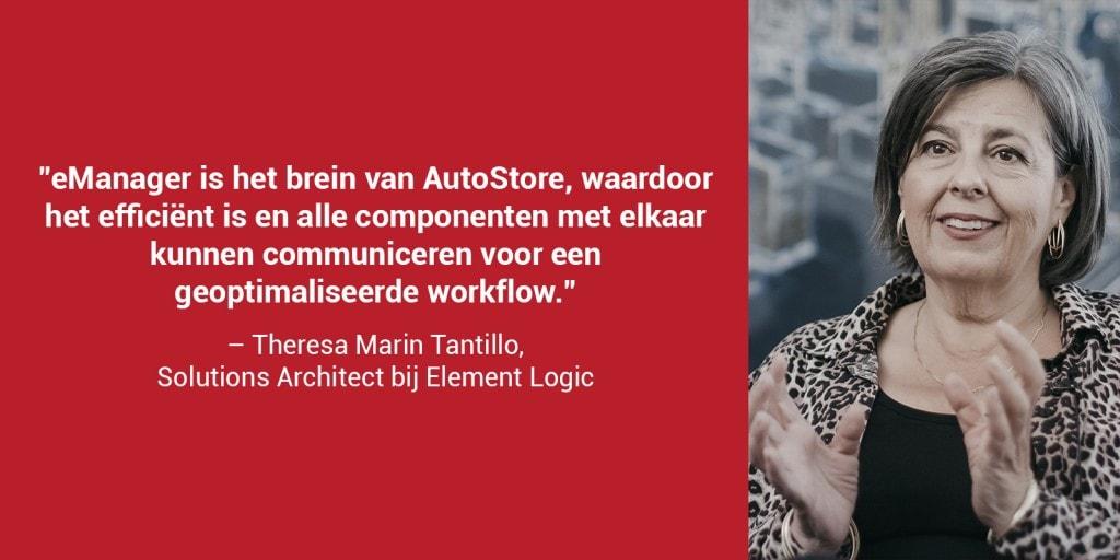 """Een rode doos met een portretfoto van Theresa Marin Tantillo en de quote: """"eManager is het brein van AutoStore, waardoor het efficiënt is en alle componenten met elkaar kunnen communiceren voor een geoptimaliseerde workflow"""""""